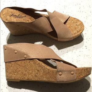 10 LUCKY BRAND cork platform wedge slides sandals